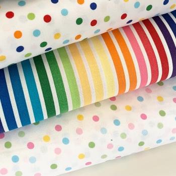 Robert Kaufman  - Remix - Stripes and Spots - Felt Backed Fabric