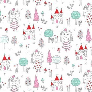 REMNANT 65CM X 110CM Little Princess - White Princess - Nutex Fabrics