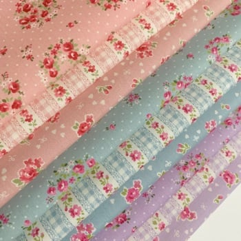 Small Cut Fabric 25cm Bundle -Lovely Flowers