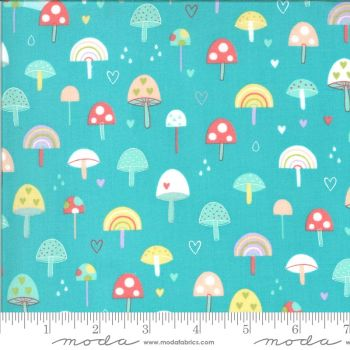 Moda Fabrics - Hello Sunshine - Mushrooms Aqua