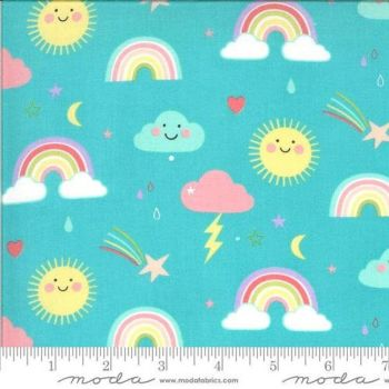 Moda Fabrics - Hello Sunshine - Rainbows Aqua