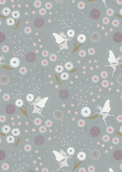 Lewis and Irene -  Fairy Clocks - Fairy Clocks on Blue Grey with Silver Metallics