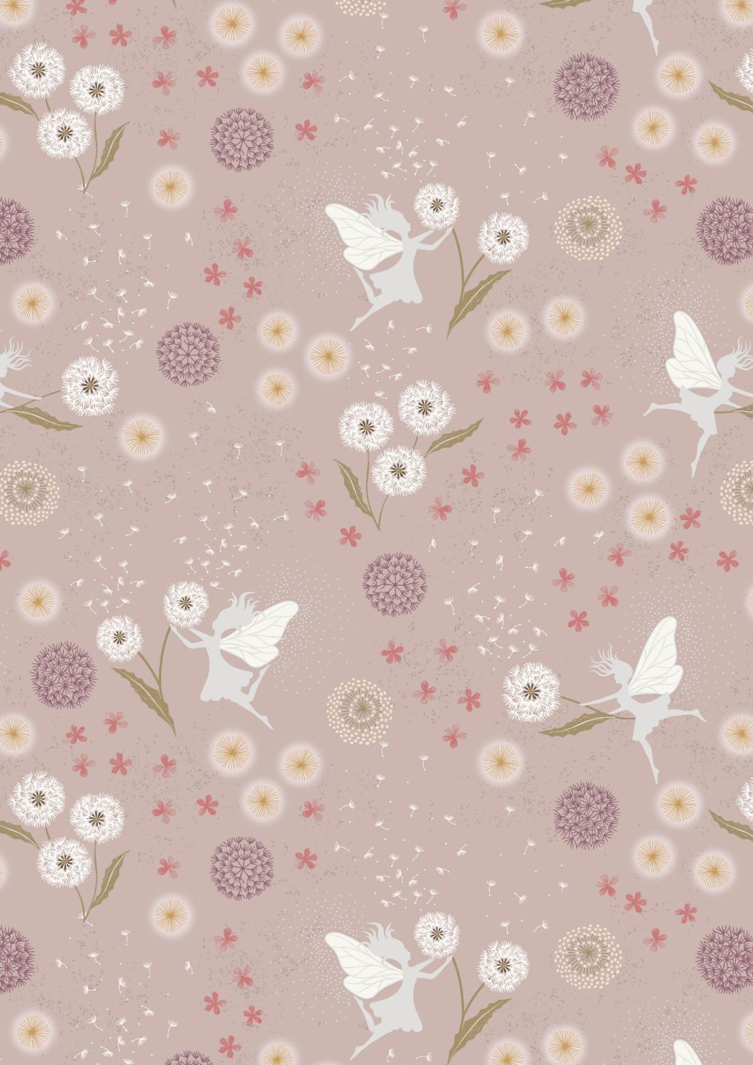 Lewis and Irene -  Fairy Clocks - Fairy Clocks on Warm Linen with Silver Me