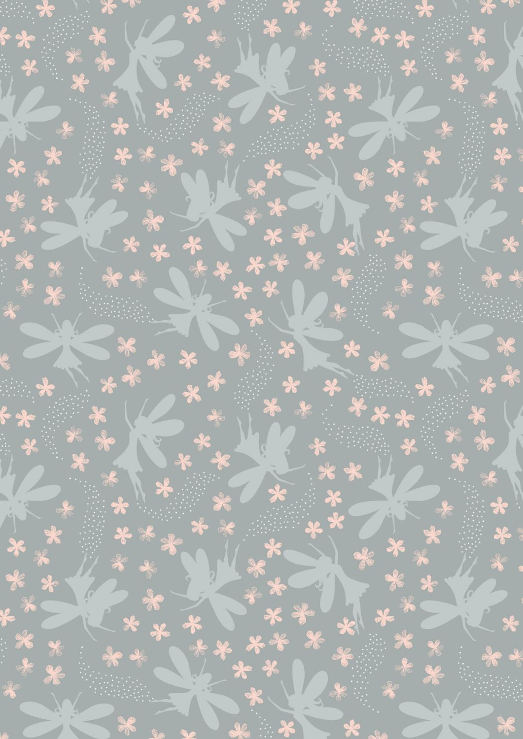 Lewis and Irene -  Fairy Clocks - Light Grey Floral Fairies with Silver Met