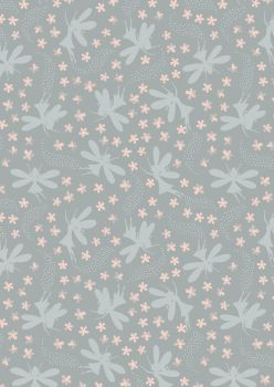 Lewis and Irene -  Fairy Clocks - Light Grey Floral Fairies with Silver Metallics