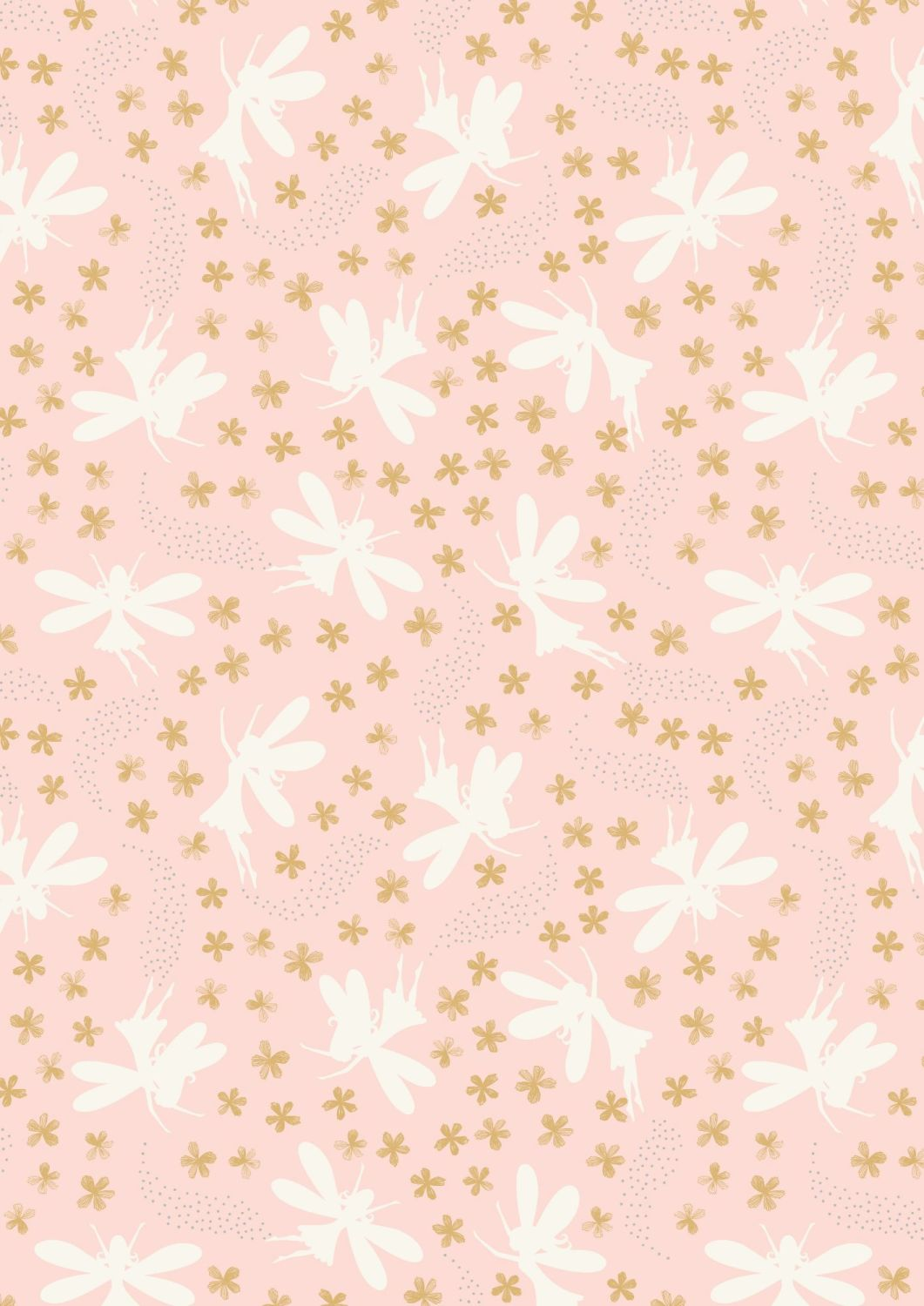 Lewis and Irene -  Fairy Clocks - Light Pink Floral Fairies with Silver Met
