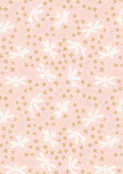 Lewis and Irene -  Fairy Clocks - Light Pink Floral Fairies with Silver Metallics