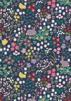 Lewis and Irene - Bunny Hop - Bunny and Chick Floral on Dark Blue