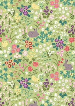 Lewis and Irene - Bunny Hop - Bunny and Chick Floral on Green
