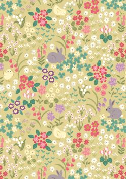 Lewis and Irene - Bunny Hop - Bunny and Chick Floral on Spring Yellow