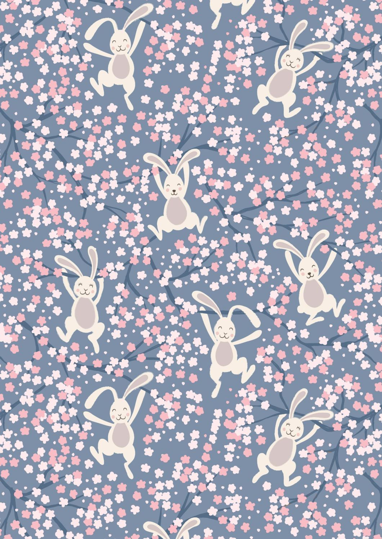 Lewis and Irene - Bunny Hop - Swinging Bunnies on Denim Blue