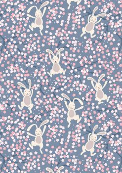 Lewis and Irene - Bunny Hop - Swinging Bunnies on Denim Blue