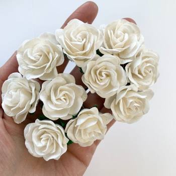 Mulberry Paper Flowers - Trellis Roses 35mm  - White