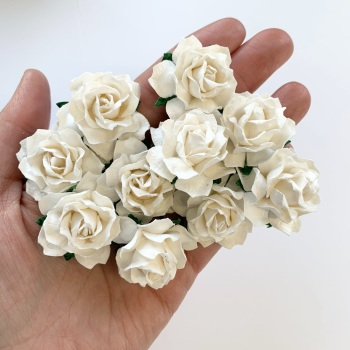 Mulberry Paper Flowers - Cottage Roses 30mm  - White
