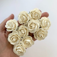 Mulberry Paper Flowers - Chelsea Roses 35mm  - Ivory