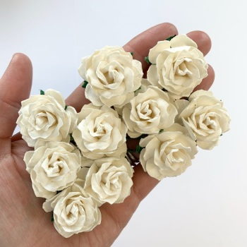 Mulberry Paper Flowers - Wild Roses 30mm  - Ivory