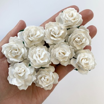 Mulberry Paper Flowers - Wild Roses 30mm  - White