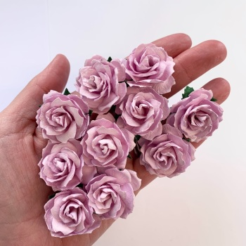 Mulberry Paper Flowers - Wild Roses 30mm  - Lilac