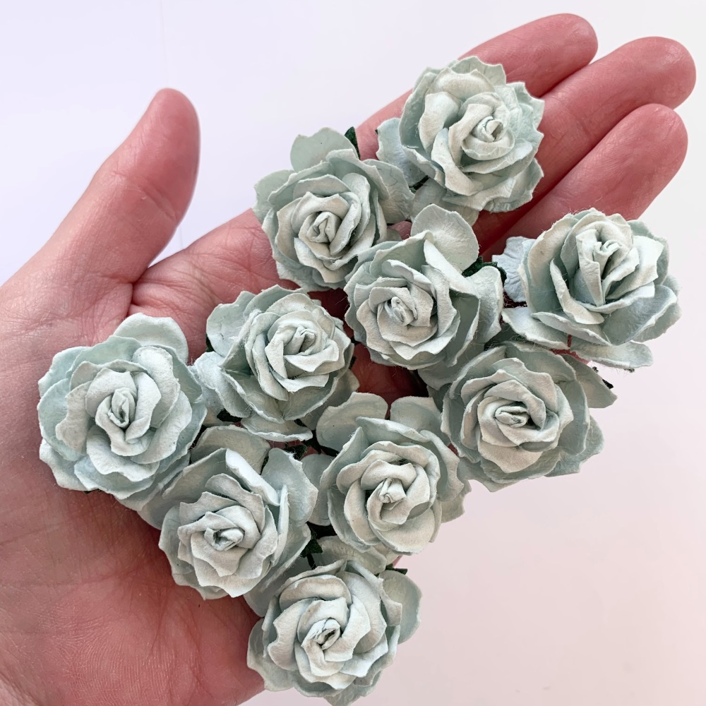 Mulberry Paper Flowers - Wild Roses 30mm  - Pale Blue