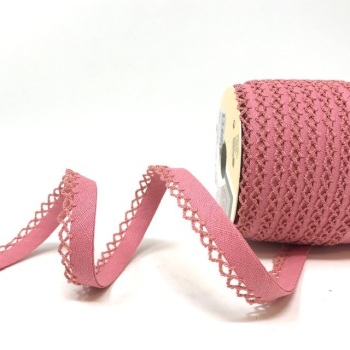 Dusky Pink 12mm Pre-Folded Linen Bias Binding with Lace Edge