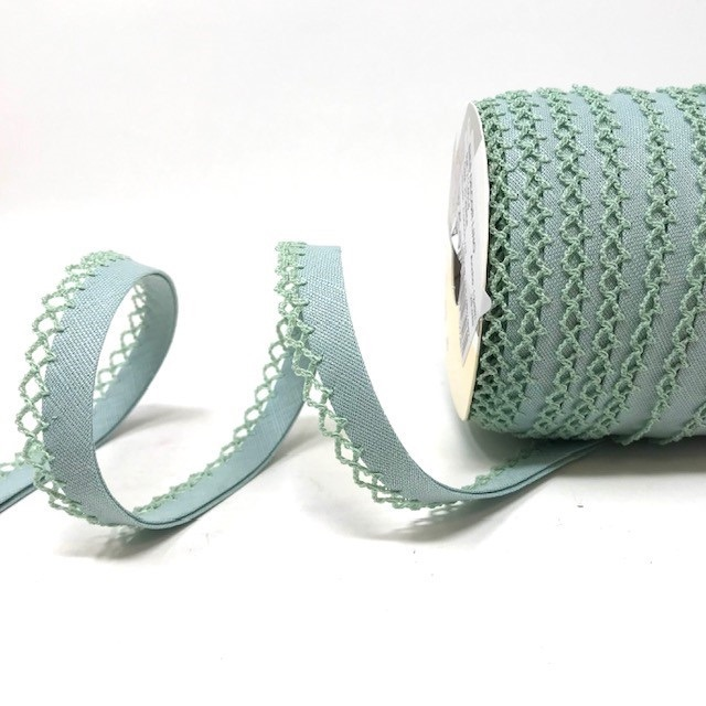 Sage 12mm Pre-Folded Linen Bias Binding with Lace Edge
