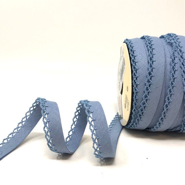 Dusky Blue 12mm Pre-Folded Linen Bias Binding with Lace Edge