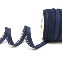 Navy 12mm Pre-Folded Linen Bias Binding with Lace Edge