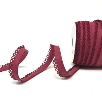 Claret 12mm Pre-Folded Linen Bias Binding with Lace Edge