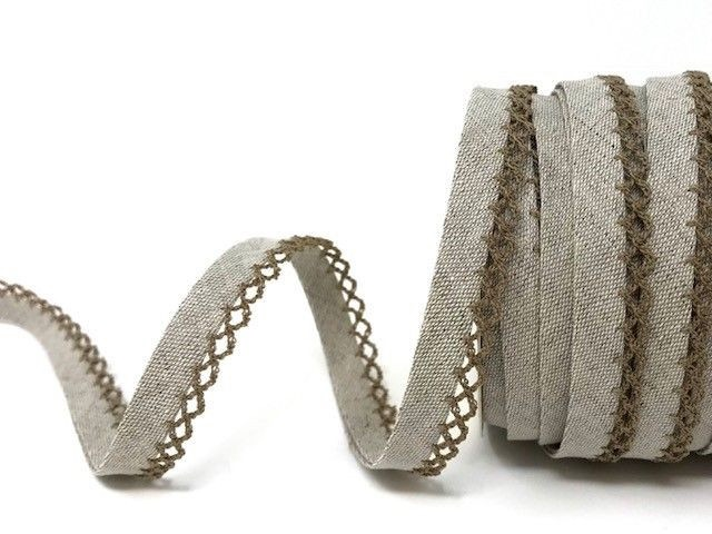 Oatmeal 12mm Pre-Folded Linen Bias Binding with Lace Edge