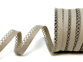 Biscuit 12mm Pre-Folded Linen Bias Binding with Lace Edge