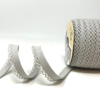 Grey 12mm Pre-Folded Linen Bias Binding with Lace Edge