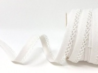 White 12mm Pre-Folded Linen Bias Binding with Lace Edge