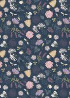 Lewis and Irene - Queen Bee - Bee Floral on Dark Blue