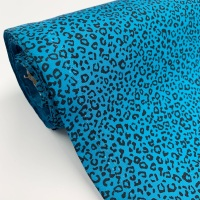Rose and Hubble Fabrics - 100% Cotton Poplin Leopard Animal Print Teal