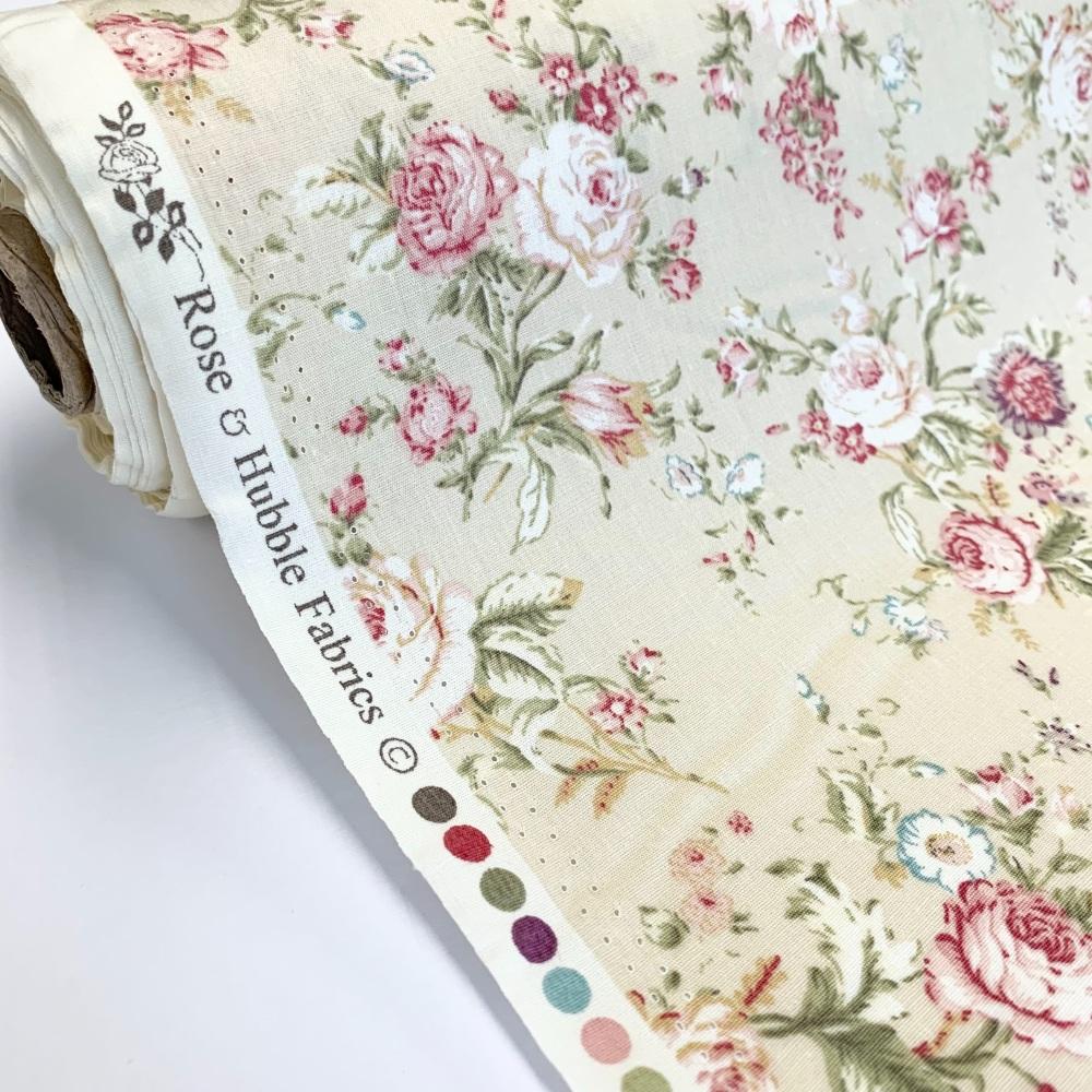 Rose and Hubble Fabrics - 100% Cotton Poplin Vintage Floral Cream