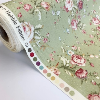 Rose and Hubble Fabrics - 100% Cotton Poplin Vintage Floral Green
