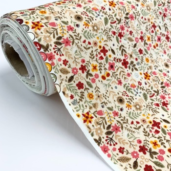Rose and Hubble Fabrics - 100% Cotton Poplin All the Flowers Natural