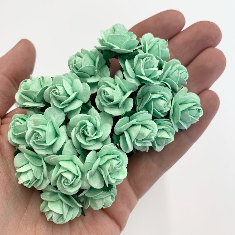 <!--035--> Mulberry Paper Open Roses - Pastel Green 10mm 15mm 20mm