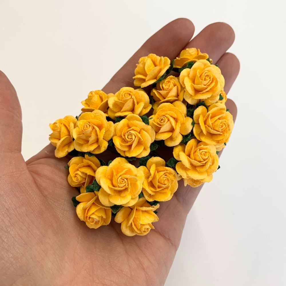 <!--010--> Mulberry Paper Open Roses - Honey Yellow - 10mm 15mm 20mm