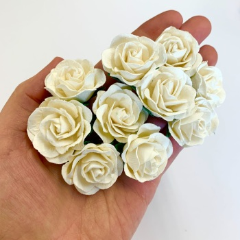 Mulberry Paper Flowers - Trellis Roses 35mm  - Ivory