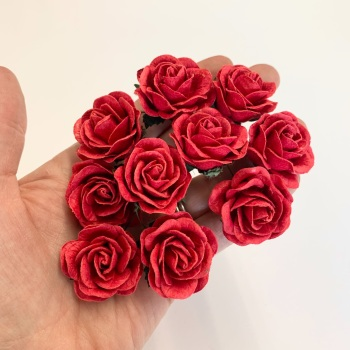 Mulberry Paper Flowers - Trellis Roses 35mm  - Red