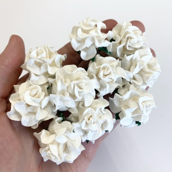 Mulberry Paper Flowers - Tuscany Roses 35mm  - White  (x 5)