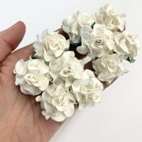 Mulberry Paper Flowers - Tuscany Roses 30mm  - White (x 5)
