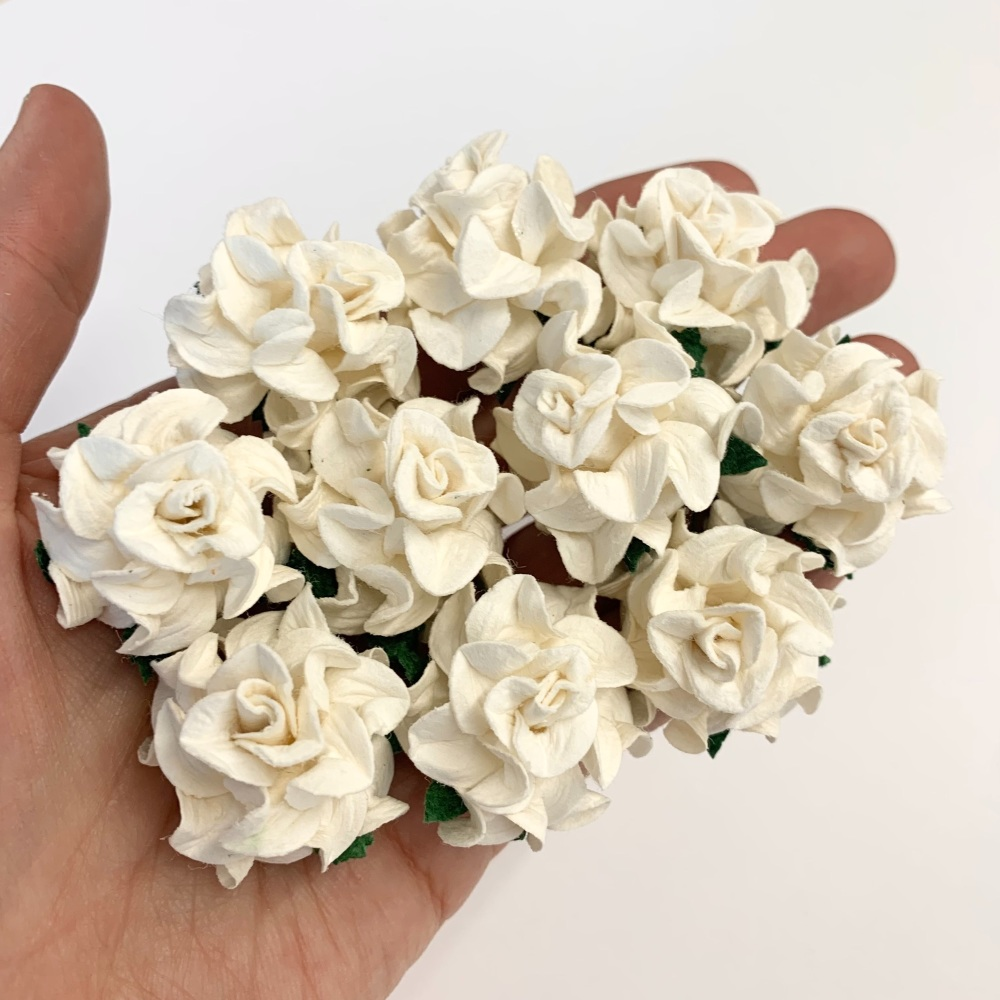 Mulberry Paper Flowers - Tuscany Roses 30mm  - Ivory