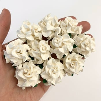 Mulberry Paper Flowers - Tuscany Roses 30mm  - Ivory  (x 5)