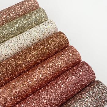 Premium Copper Rose Glitter Fabric 20 x 30cm Bundle