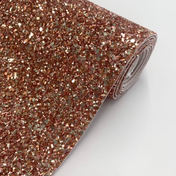 Premium Chunky Glitter Fabric - Rose Champagne