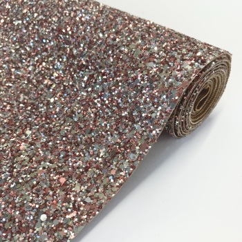 Premium Chunky Glitter Fabric - Silver Sands