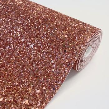 Premium Chunky Glitter Fabric - Rosey Copper