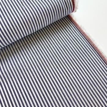 100% Yarn Dyed Cotton 3mm Stripe - Navy